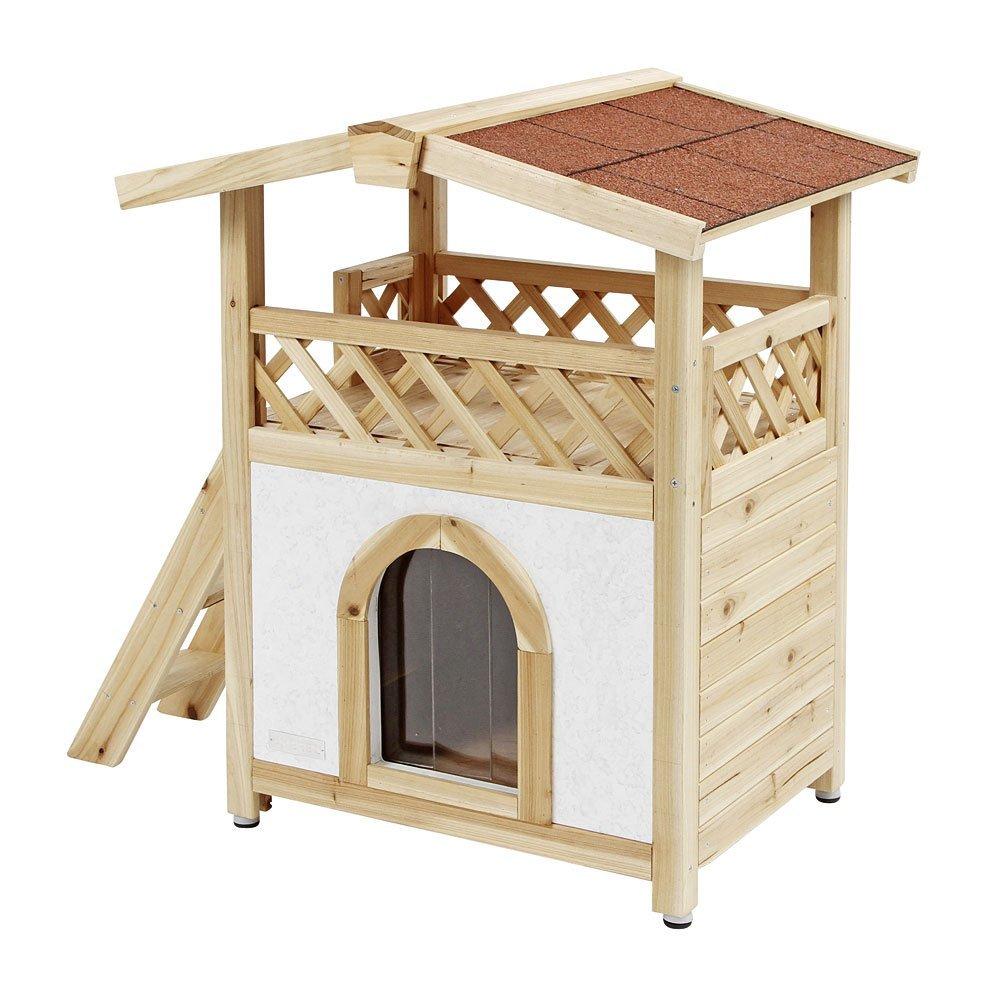 Frontal casa para gatos de madera